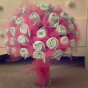 Beautiful girls diaper bouquet with vase